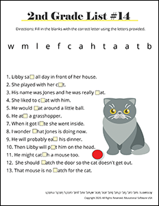 2nd Grade Spelling Worksheet for List #14