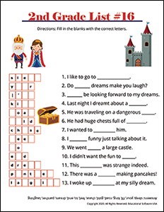 2nd Grade Spelling Worksheet for List #16