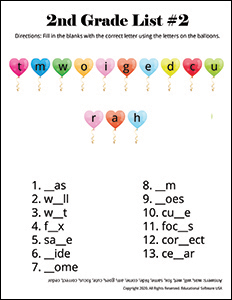 2nd Grade Spelling Worksheet for List #2