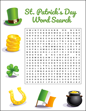 St. Patrick's Day Word Search Game Worksheet