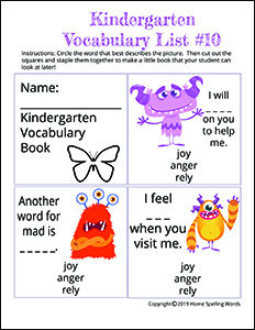 Kindergarten Vocabulary List #10