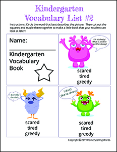 Kindergarten Vocabulary List #2
