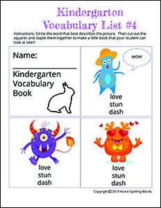 Kindergarten Vocabulary List #4