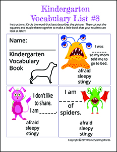 Kindergarten Vocabulary List #8